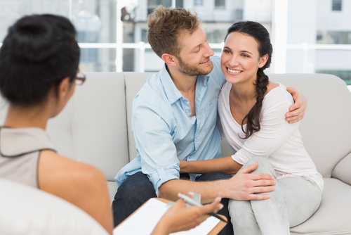 Couple receiving relationship counselling